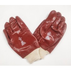 Red PVC knit wrist glove size 9